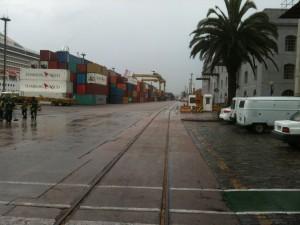 The stacks of containers waiting to be opened at the port