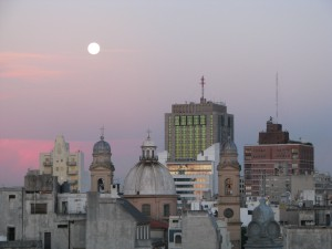 This picture has nothing to do with the post - I just love this view of the moon over Montevideo.