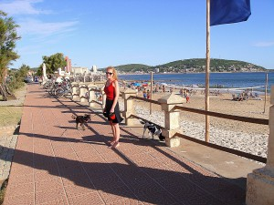 Walking the rambla along the beach in Piriapolis